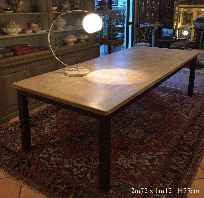 Table hetre massif blanchi pietement acier - Pasquier Antiquites