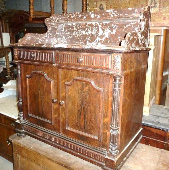 meuble de toilette palissandre et marbre pasquier antiquites. Black Bedroom Furniture Sets. Home Design Ideas